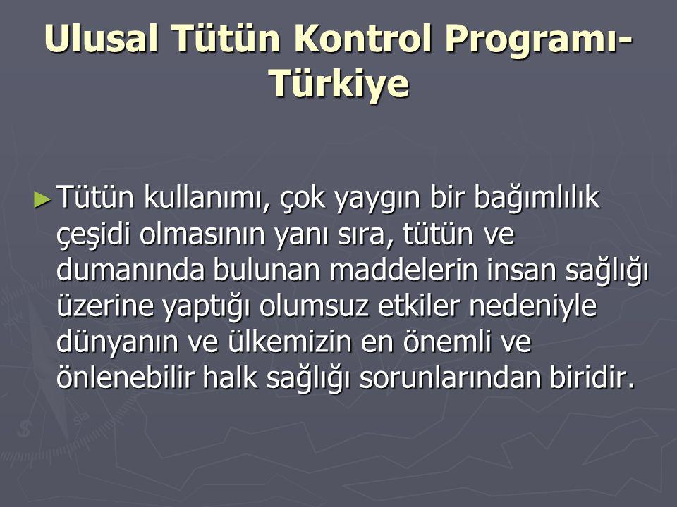 Ulusal Tütün Kontrol Programı- Türkiye ► Tütün kullanımı, çok yaygın bir bağımlılık çeşidi olmasının yanı sıra, tütün ve dumanında bulunan maddelerin