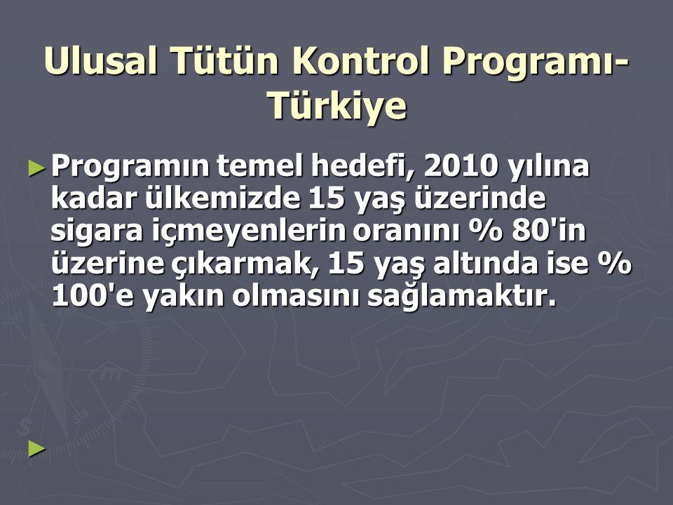 Ulusal Tütün Kontrol Programı- Türkiye ► Programın temel hedefi, 2010 yılına kadar ülkemizde 15 yaş üzerinde sigara içmeyenlerin oranını % 80'in üzeri