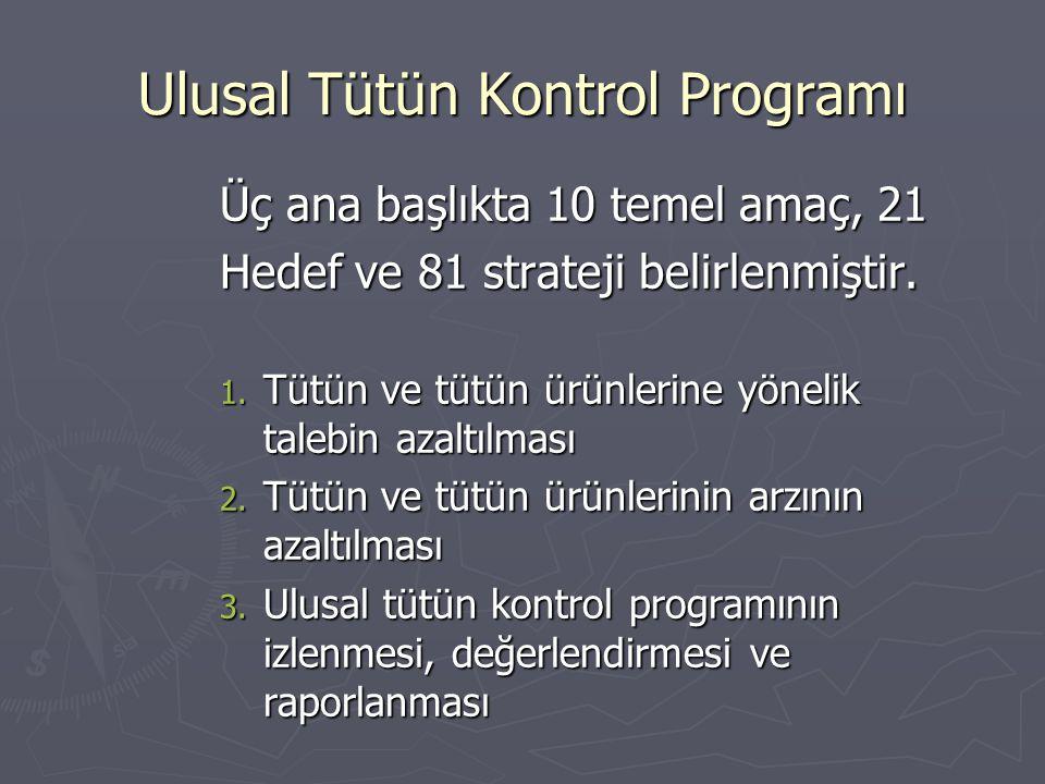 Ulusal Tütün Kontrol Programı Üç ana başlıkta 10 temel amaç, 21 Hedef ve 81 strateji belirlenmiştir. 1. Tütün ve tütün ürünlerine yönelik talebin azal