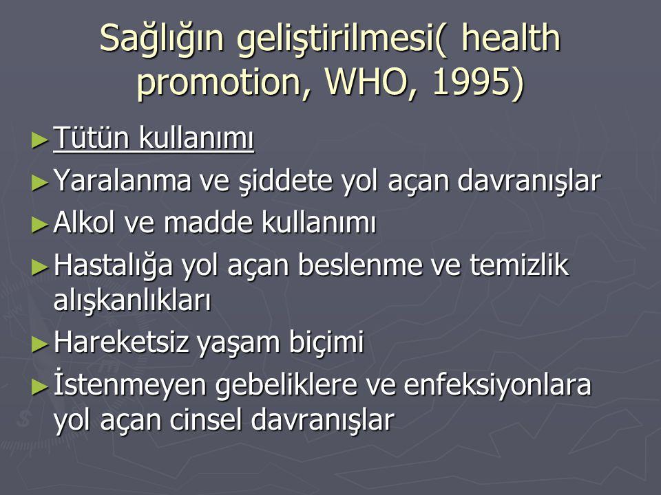 Sağlığın geliştirilmesi( health promotion, WHO, 1995) ► Tütün kullanımı ► Yaralanma ve şiddete yol açan davranışlar ► Alkol ve madde kullanımı ► Hasta