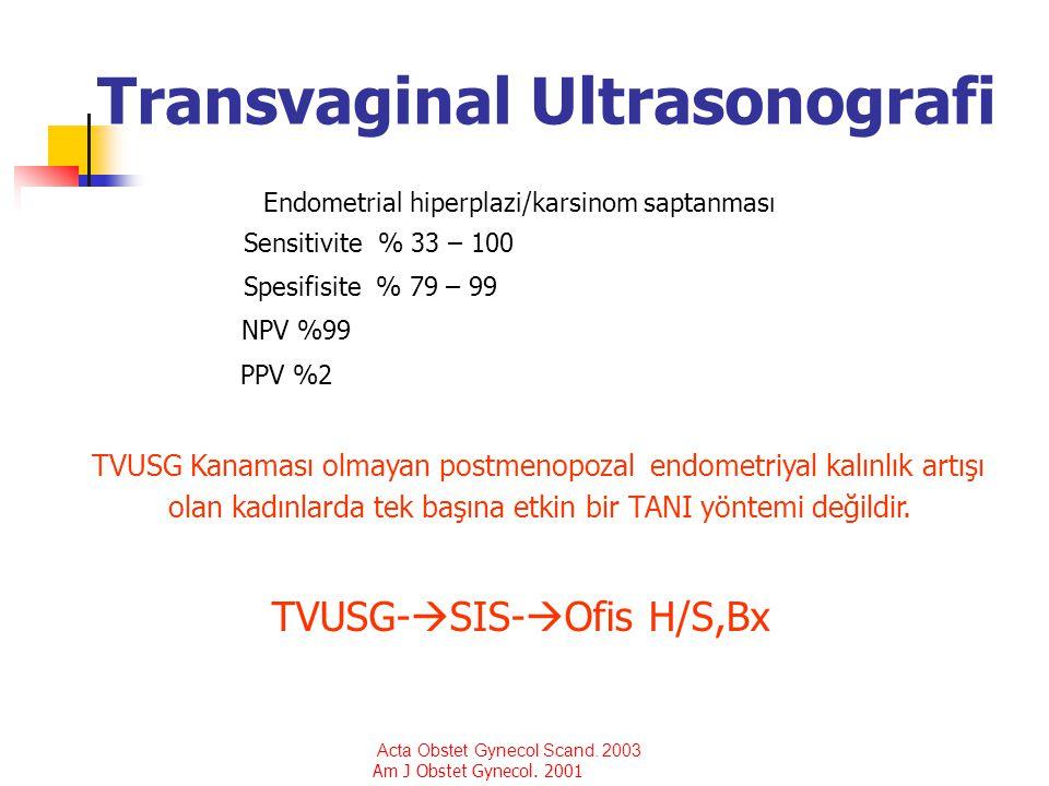 Transvaginal Ultrasonografi Endometrial hiperplazi/karsinom saptanması Sensitivite % 33 – 100 Spesifisite % 79 – 99 NPV %99 PPV %2 TVUSG Kanaması olma