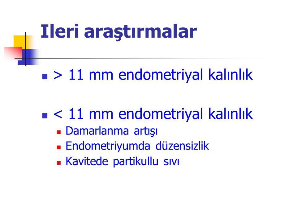 Ileri araştırmalar > 11 mm endometriyal kalınlık < 11 mm endometriyal kalınlık Damarlanma artışı Endometriyumda düzensizlik Kavitede partikullu sıvı