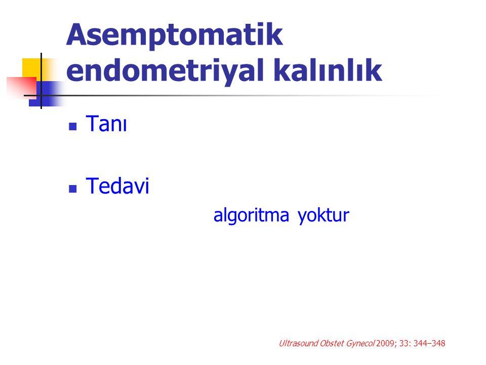 Tarama TVUSG yüksek false pozitifliğe sahip Gereksiz tedavi Hasta anksiyetesi Hekim anksiyetesi Gereksiz tedaviden kaynaklanan komplikasyonlar Kaynakların gereksiz kullanması Ultrasound Obstet Gynecol 2009; 33: 344–348