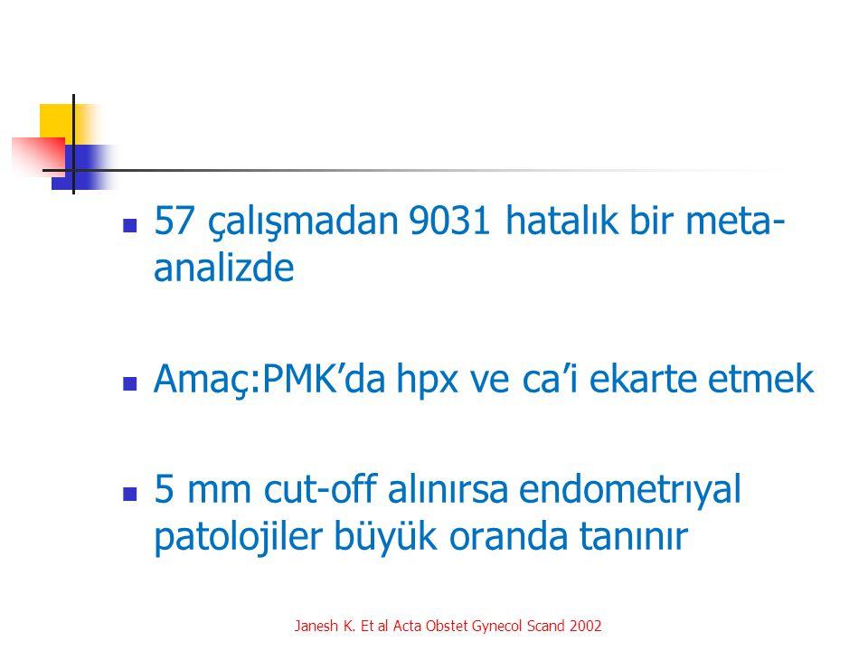57 çalışmadan 9031 hatalık bir meta- analizde Amaç:PMK'da hpx ve ca'i ekarte etmek 5 mm cut-off alınırsa endometrıyal patolojiler büyük oranda tanınır