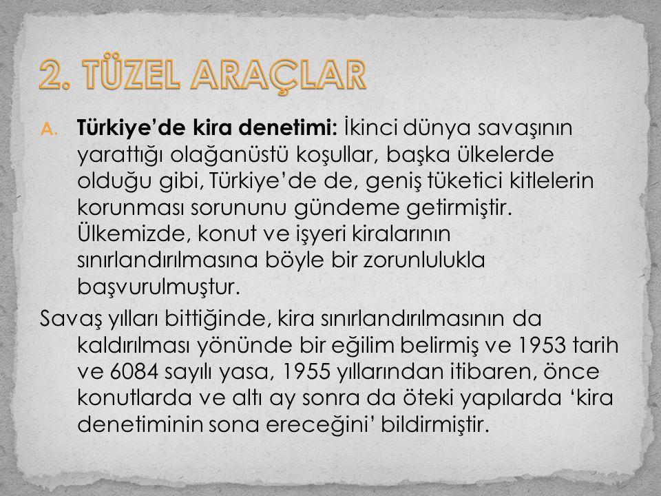 A. Türkiye'de kira denetimi: İkinci dünya savaşının yarattığı olağanüstü koşullar, başka ülkelerde olduğu gibi, Türkiye'de de, geniş tüketici kitleler