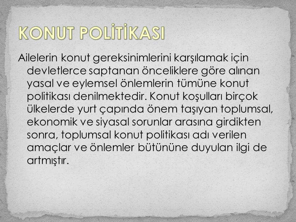 Bunun yanı sıra, kurum konutları konusunda şu yöntemlerin izlenmesi kararlaştırılmıştır: 1.Yüksek düzeydeki yöneticiler için 300 birimlik bir projenin Ankara'da uygulanması, 2.Memur konutları siteleri:Devlet memurlarının yoğun olduğu illerde 200 birimlik semtlerin oluşturulması.