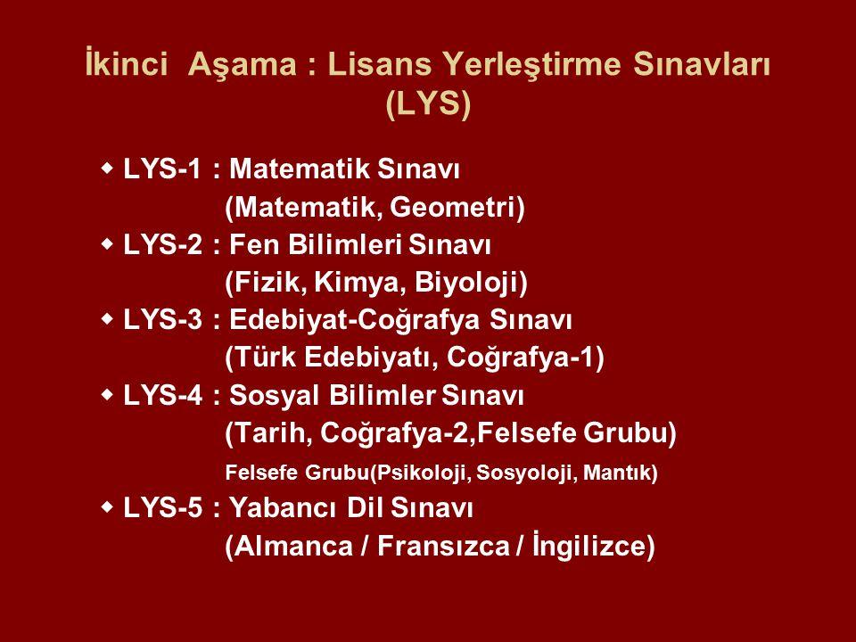İkinci Aşama : Lisans Yerleştirme Sınavları (LYS)  LYS-1 : Matematik Sınavı (Matematik, Geometri)  LYS-2 : Fen Bilimleri Sınavı (Fizik, Kimya, Biyoloji)  LYS-3 : Edebiyat-Coğrafya Sınavı (Türk Edebiyatı, Coğrafya-1)  LYS-4 : Sosyal Bilimler Sınavı (Tarih, Coğrafya-2,Felsefe Grubu) Felsefe Grubu(Psikoloji, Sosyoloji, Mantık)  LYS-5 : Yabancı Dil Sınavı (Almanca / Fransızca / İngilizce)