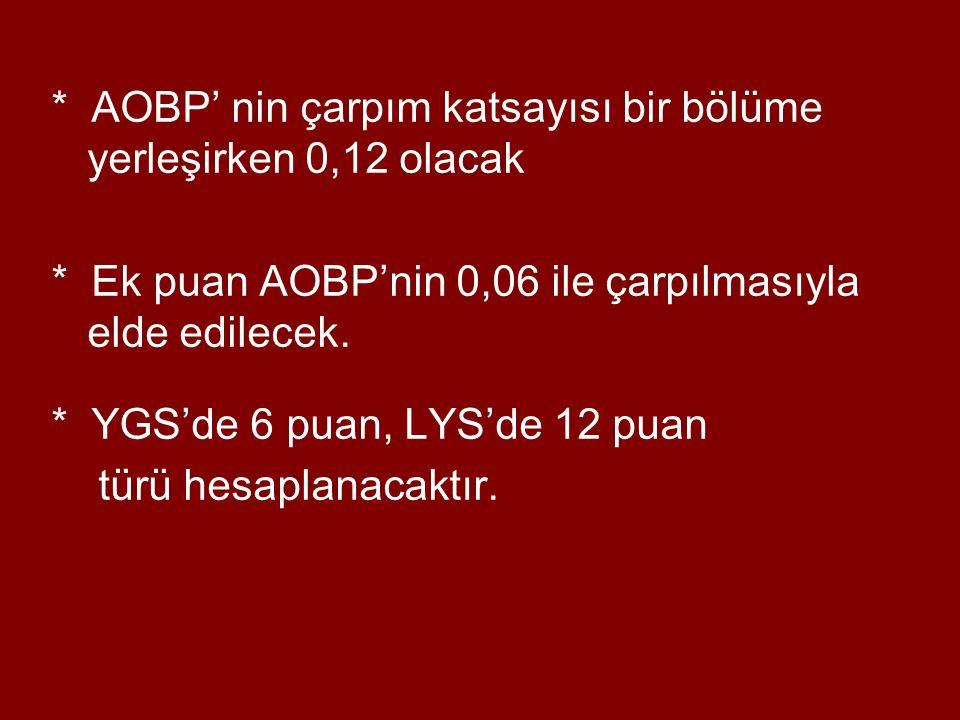 * AOBP' nin çarpım katsayısı bir bölüme yerleşirken 0,12 olacak * Ek puan AOBP'nin 0,06 ile çarpılmasıyla elde edilecek.