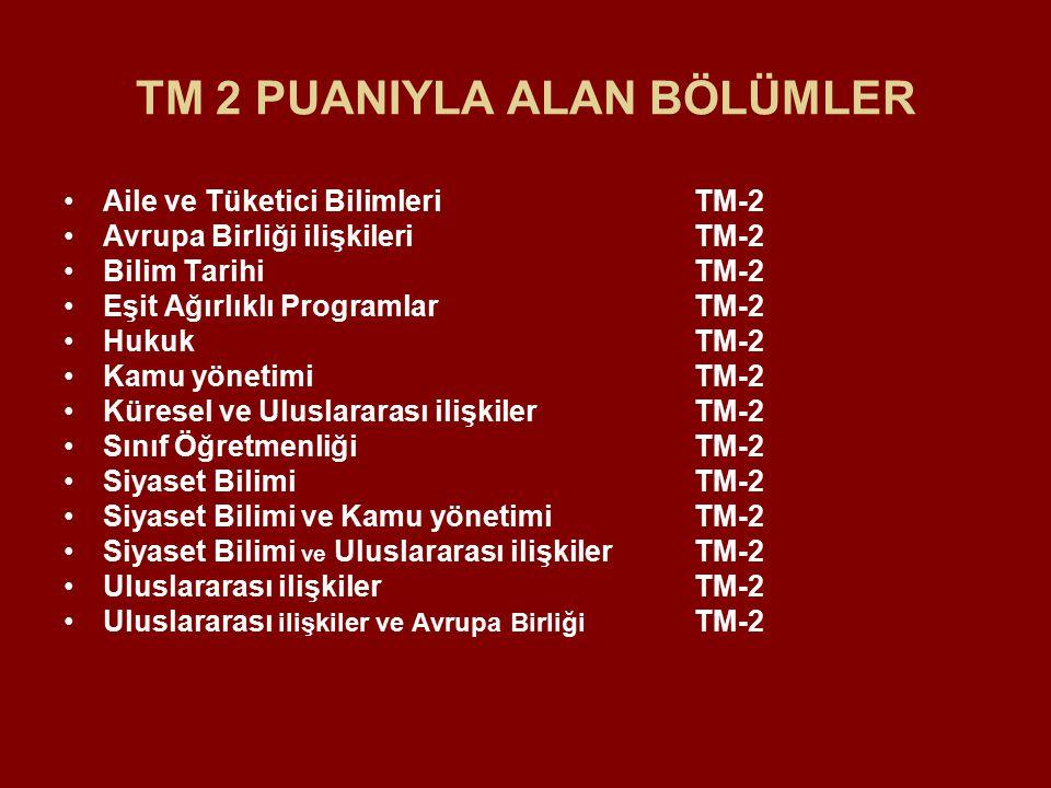TM 2 PUANIYLA ALAN BÖLÜMLER Aile ve Tüketici Bilimleri TM-2 Avrupa Birliği ilişkileri TM-2 Bilim TarihiTM-2 Eşit Ağırlıklı Programlar TM-2 Hukuk TM-2 Kamu yönetimi TM-2 Küresel ve Uluslararası ilişkiler TM-2 Sınıf Öğretmenliği TM-2 Siyaset Bilimi TM-2 Siyaset Bilimi ve Kamu yönetimi TM-2 Siyaset Bilimi ve Uluslararası ilişkiler TM-2 Uluslararası ilişkiler TM-2 Uluslararası ilişkiler ve Avrupa Birliği TM-2