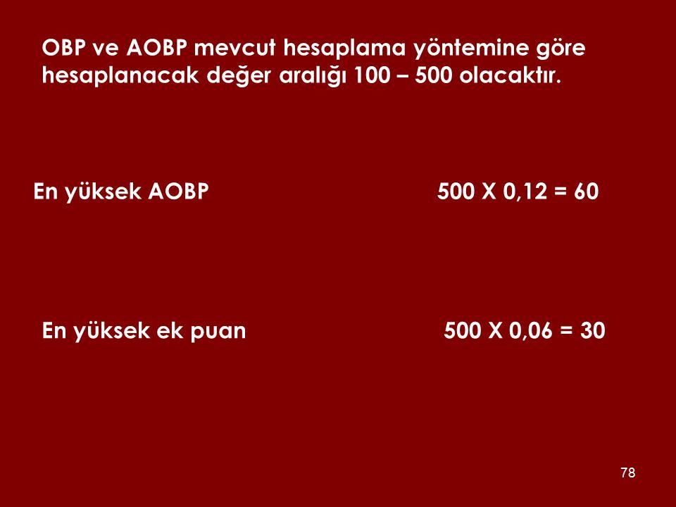 OBP ve AOBP mevcut hesaplama yöntemine göre hesaplanacak değer aralığı 100 – 500 olacaktır.