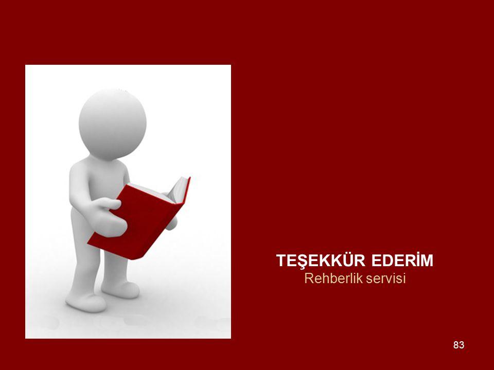 TEŞEKKÜR EDERİM Rehberlik servisi 83