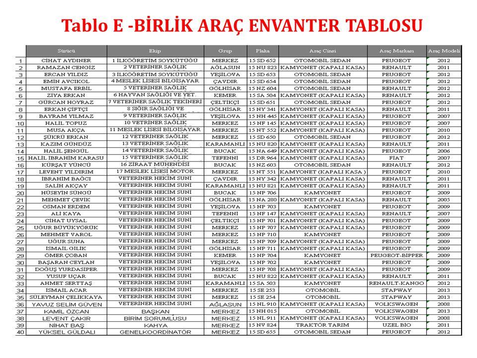 Tablo E -BİRLİK ARAÇ ENVANTER TABLOSU