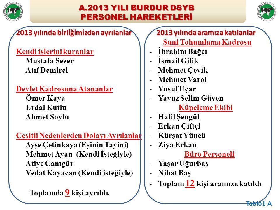A.2013 YILI BURDUR DSYB PERSONEL HAREKETLERİ 2013 yılında birliğimizden ayrılanlar Kendi işlerini kuranlar Mustafa Sezer Atıf Demirel - Devlet Kadrosu