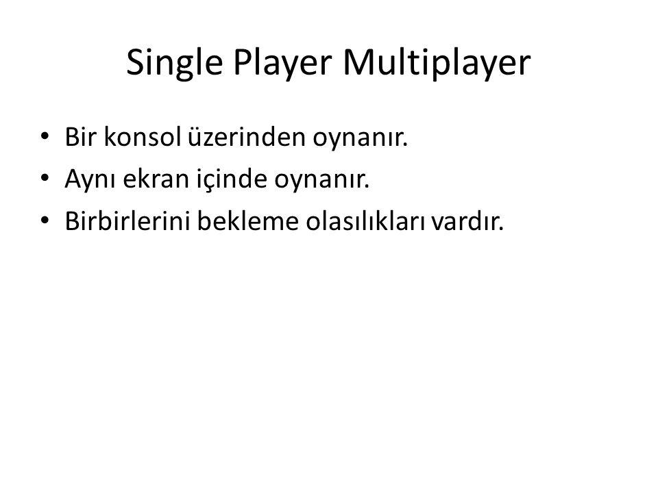 Single Player Multiplayer Bir konsol üzerinden oynanır.