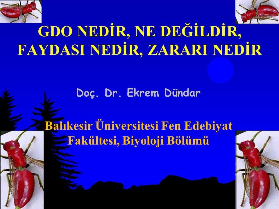 GDO NEDİR, NE DEĞİLDİR, FAYDASI NEDİR, ZARARI NEDİR Doç. Dr. Ekrem Dündar Balıkesir Üniversitesi Fen Edebiyat Fakültesi, Biyoloji Bölümü