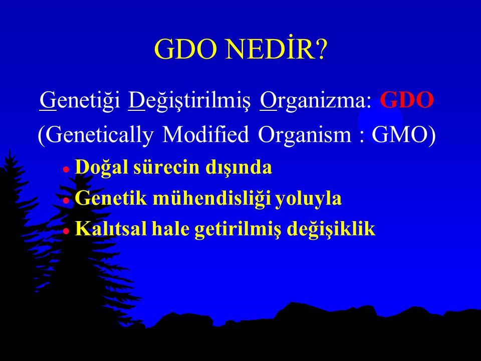 GDO NEDİR? Genetiği Değiştirilmiş Organizma: GDO (Genetically Modified Organism : GMO) l Doğal sürecin dışında l Genetik mühendisliği yoluyla l Kalıts