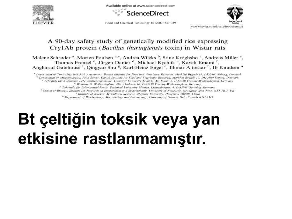 Bt çeltiğin toksik veya yan etkisine rastlanmamıştır.