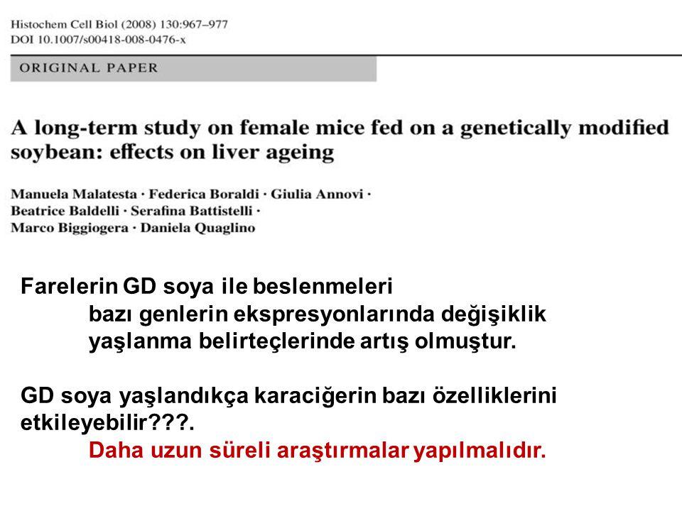 Farelerin GD soya ile beslenmeleri bazı genlerin ekspresyonlarında değişiklik yaşlanma belirteçlerinde artış olmuştur. GD soya yaşlandıkça karaciğerin