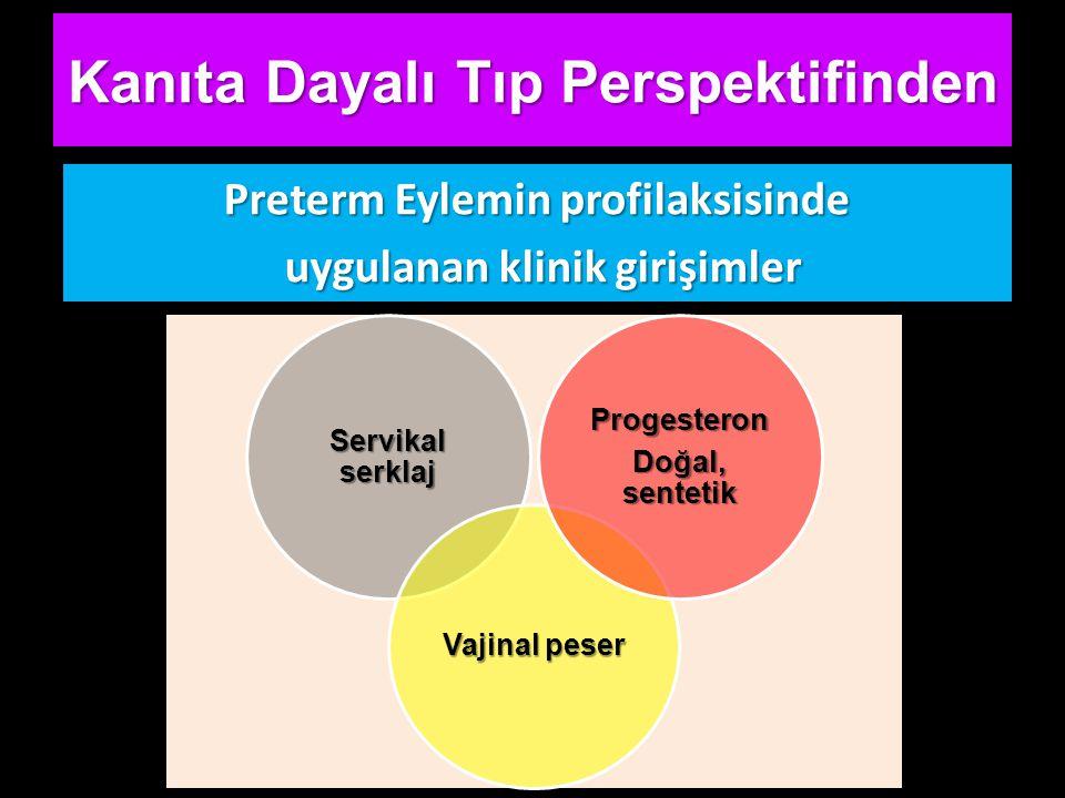 Kanıta Dayalı Tıp Perspektifinden Preterm Eylemin profilaksisinde uygulanan klinik girişimler uygulanan klinik girişimler Servikal serklaj Vajinal peser Progesteron Doğal, sentetik