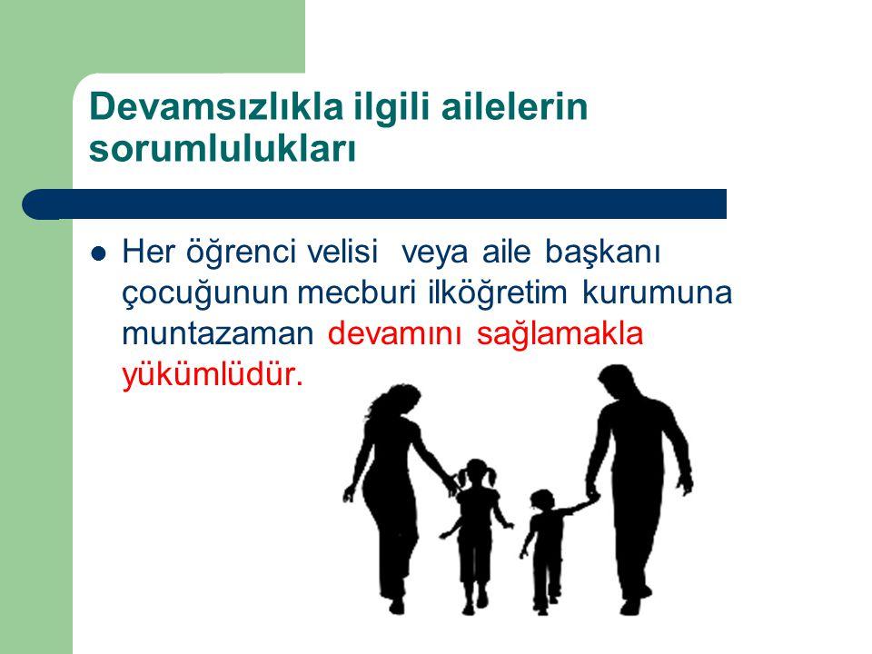 Devamsızlıkla ilgili ailelerin sorumlulukları Her öğrenci velisi veya aile başkanı çocuğunun mecburi ilköğretim kurumuna muntazaman devamını sağlamakl
