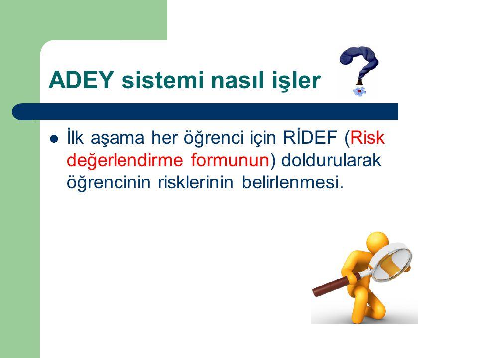 ADEY sistemi nasıl işler İlk aşama her öğrenci için RİDEF (Risk değerlendirme formunun) doldurularak öğrencinin risklerinin belirlenmesi.