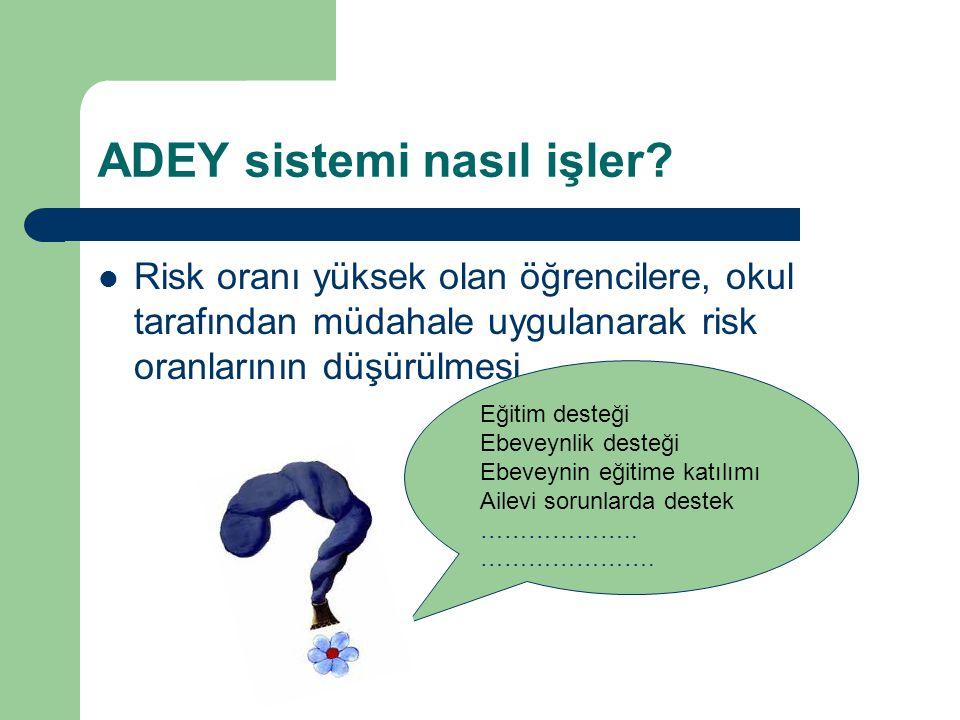 ADEY sistemi nasıl işler? Risk oranı yüksek olan öğrencilere, okul tarafından müdahale uygulanarak risk oranlarının düşürülmesi. Eğitim desteği Ebevey