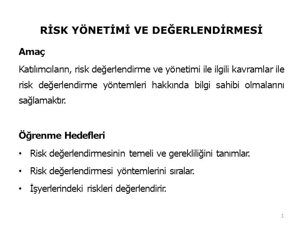 RİSK YÖNETİMİ VE DEĞERLENDİRMESİ Amaç Katılımcıların, risk değerlendirme ve yönetimi ile ilgili kavramlar ile risk değerlendirme yöntemleri hakkında b