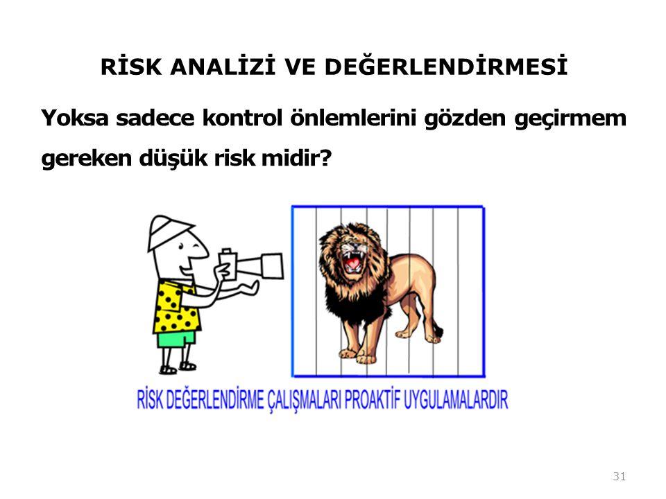 RİSK ANALİZİ VE DEĞERLENDİRMESİ Yoksa sadece kontrol önlemlerini gözden geçirmem gereken düşük risk midir? 31
