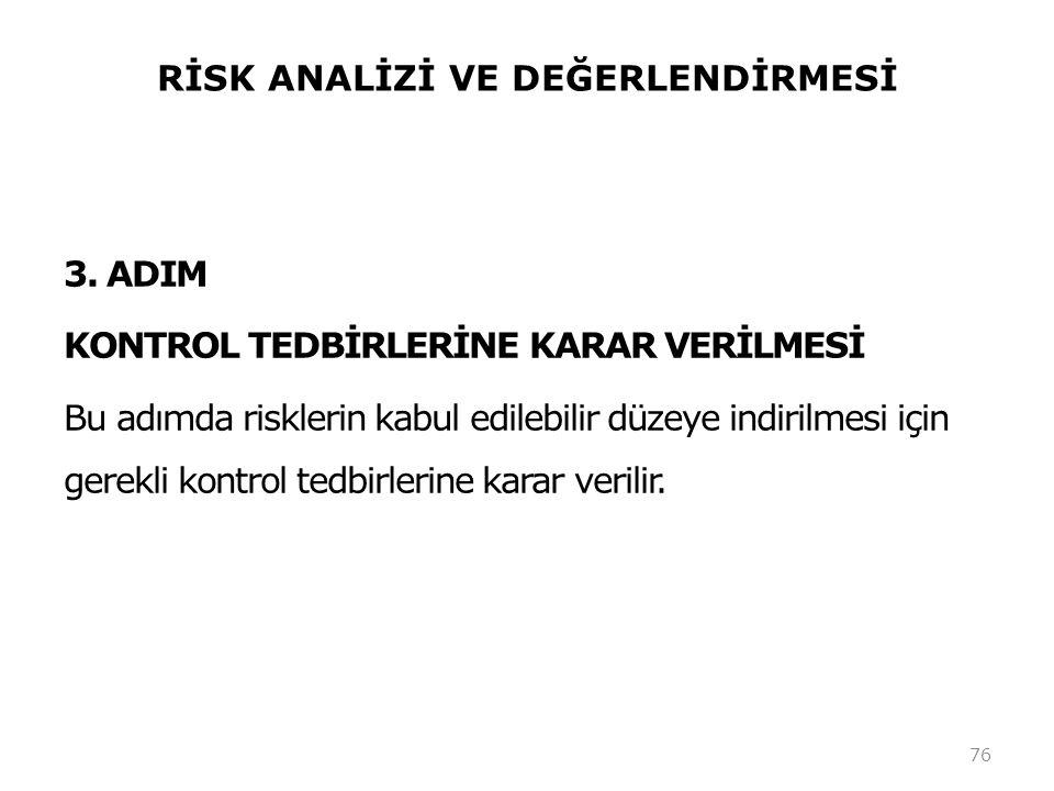 RİSK ANALİZİ VE DEĞERLENDİRMESİ 3. ADIM KONTROL TEDBİRLERİNE KARAR VERİLMESİ Bu adımda risklerin kabul edilebilir düzeye indirilmesi için gerekli kont