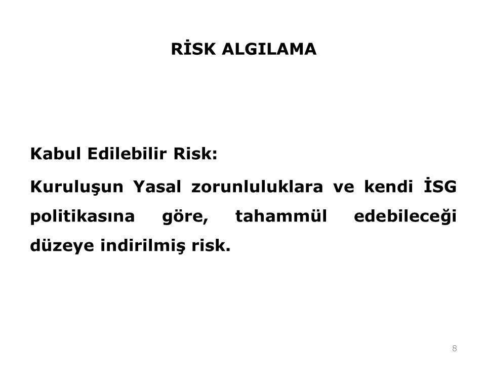 RİSK ALGILAMA Kabul Edilebilir Risk: Kuruluşun Yasal zorunluluklara ve kendi İSG politikasına göre, tahammül edebileceği düzeye indirilmiş risk. 8