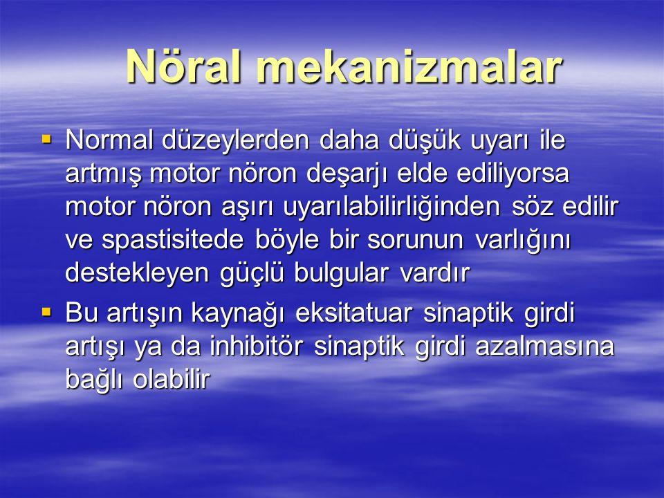 Nöral mekanizmalar Nöral mekanizmalar  Normal düzeylerden daha düşük uyarı ile artmış motor nöron deşarjı elde ediliyorsa motor nöron aşırı uyarılabi