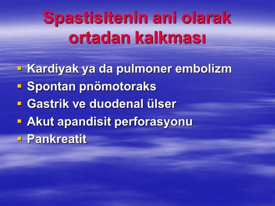 Spastisitenin ani olarak ortadan kalkması  Kardiyak ya da pulmoner embolizm  Spontan pnömotoraks  Gastrik ve duodenal ülser  Akut apandisit perfor