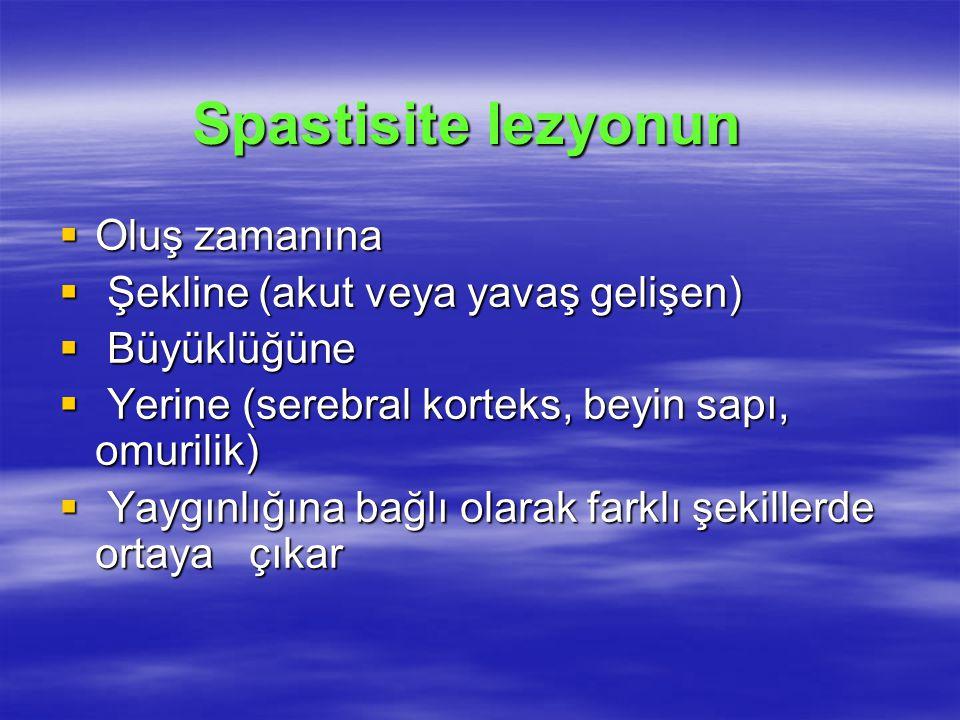 Spastisite lezyonun  Oluş zamanına  Şekline (akut veya yavaş gelişen)  Büyüklüğüne  Yerine (serebral korteks, beyin sapı, omurilik)  Yaygınlığına