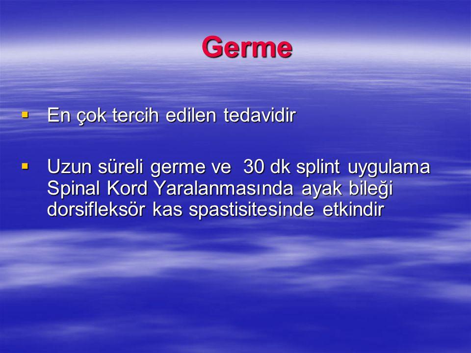 Germe Germe  En çok tercih edilen tedavidir  Uzun süreli germe ve 30 dk splint uygulama Spinal Kord Yaralanmasında ayak bileği dorsifleksör kas spas