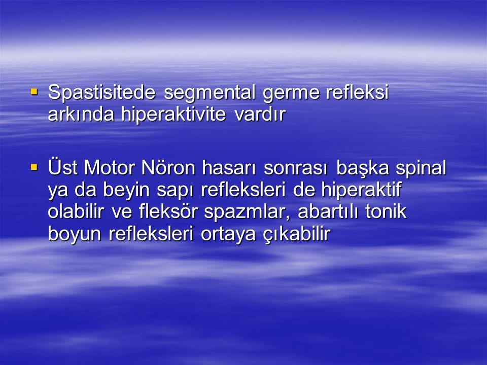  Spastisitede segmental germe refleksi arkında hiperaktivite vardır  Üst Motor Nöron hasarı sonrası başka spinal ya da beyin sapı refleksleri de hip
