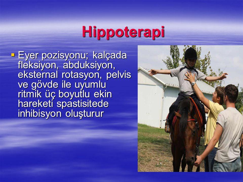 Hippoterapi Hippoterapi  Eyer pozisyonu; kalçada fleksiyon, abduksiyon, eksternal rotasyon, pelvis ve gövde ile uyumlu ritmik üç boyutlu ekin hareket