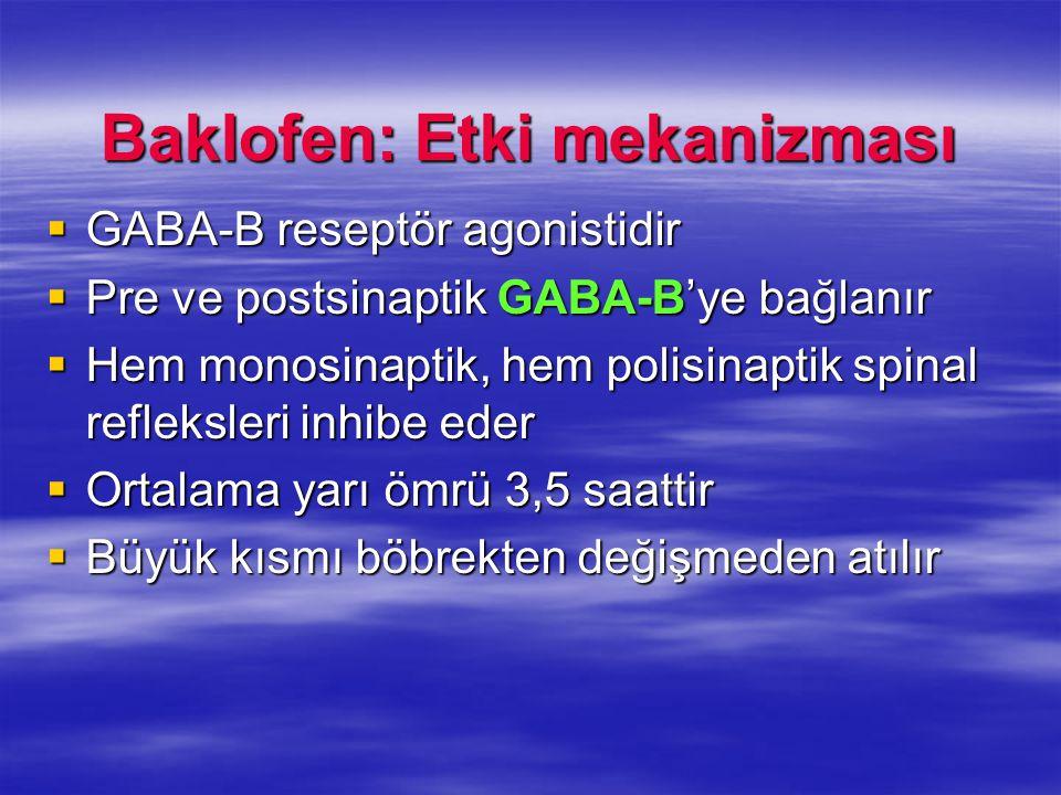 Baklofen: Etki mekanizması  GABA-B reseptör agonistidir  Pre ve postsinaptik GABA-B'ye bağlanır  Hem monosinaptik, hem polisinaptik spinal refleksl