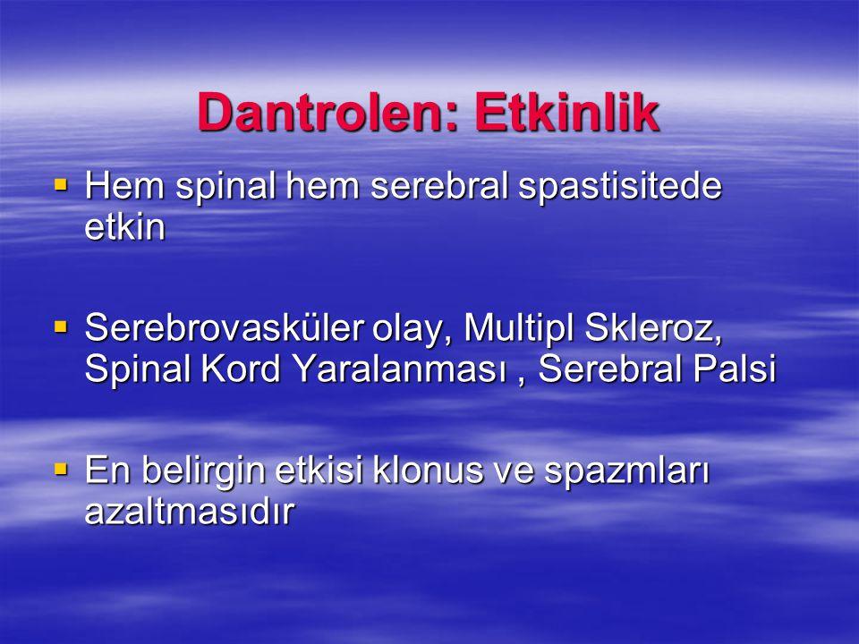 Dantrolen: Etkinlik  Hem spinal hem serebral spastisitede etkin  Serebrovasküler olay, Multipl Skleroz, Spinal Kord Yaralanması, Serebral Palsi  En