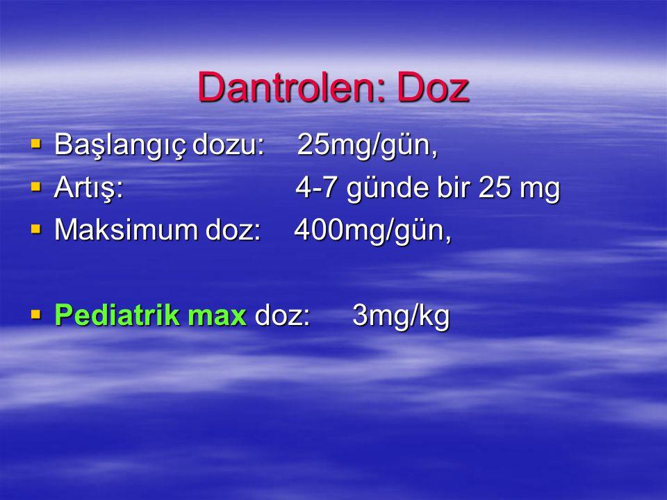 Dantrolen: Doz  Başlangıç dozu: 25mg/gün,  Artış: 4-7 günde bir 25 mg  Maksimum doz: 400mg/gün,  Pediatrik max doz: 3mg/kg