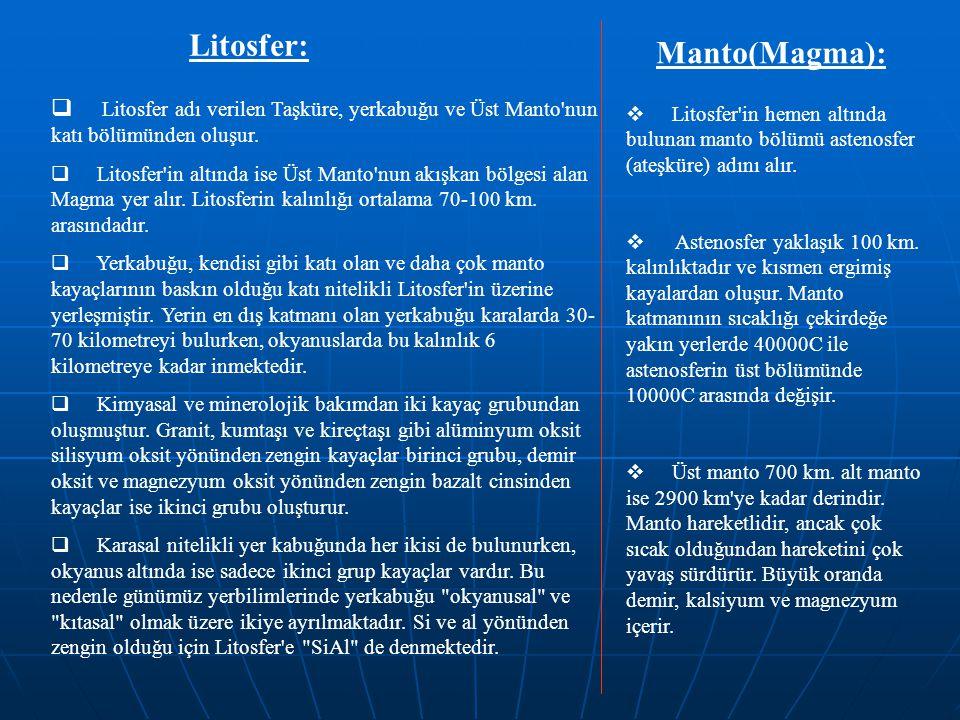 Litosfer:  Litosfer adı verilen Taşküre, yerkabuğu ve Üst Manto'nun katı bölümünden oluşur.  Litosfer'in altında ise Üst Manto'nun akışkan bölgesi a