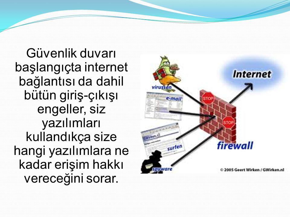 Güvenlik duvarı başlangıçta internet bağlantısı da dahil bütün giriş-çıkışı engeller, siz yazılımları kullandıkça size hangi yazılımlara ne kadar erişim hakkı vereceğini sorar.