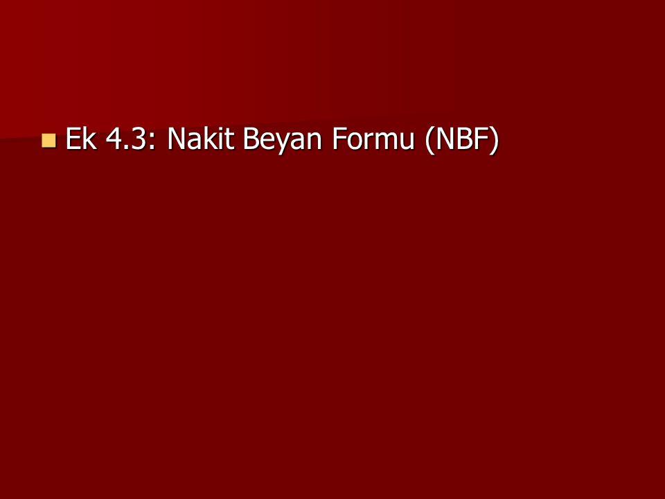 Ek 4.3: Nakit Beyan Formu (NBF) Ek 4.3: Nakit Beyan Formu (NBF)