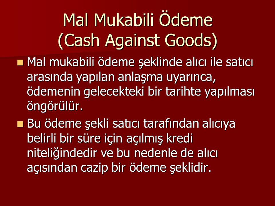 Mal Mukabili Ödeme (Cash Against Goods) Mal mukabili ödeme şeklinde alıcı ile satıcı arasında yapılan anlaşma uyarınca, ödemenin gelecekteki bir tarih