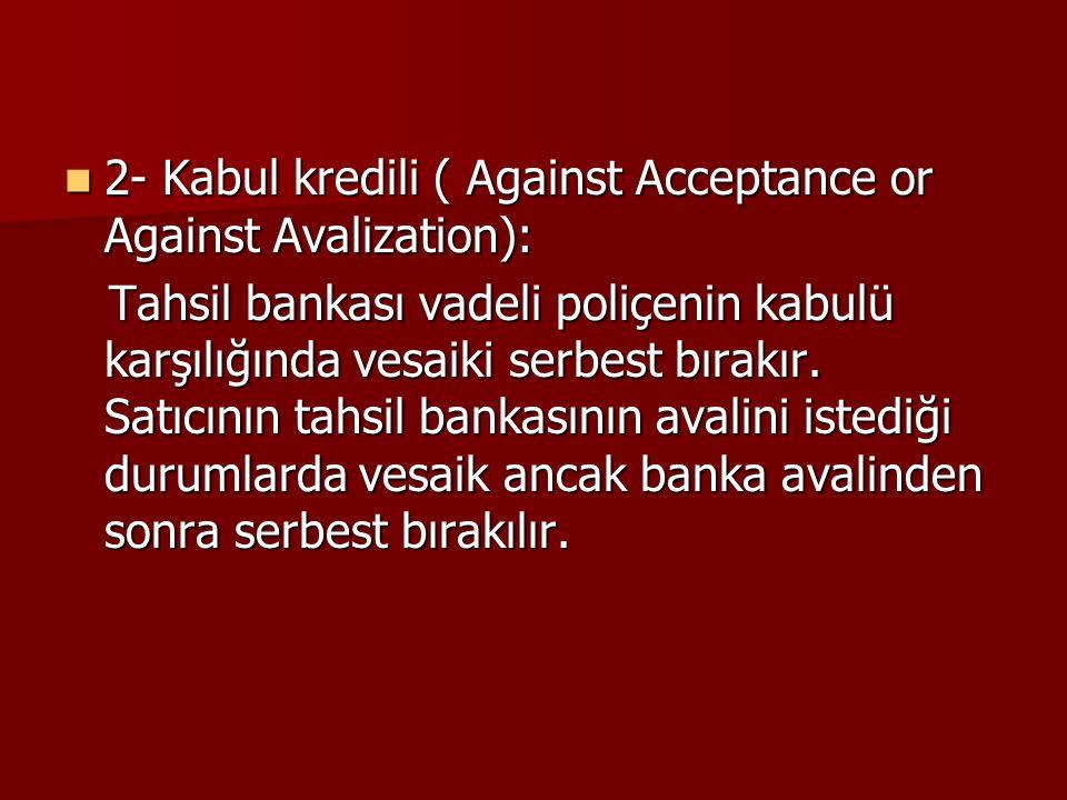 2- Kabul kredili ( Against Acceptance or Against Avalization): 2- Kabul kredili ( Against Acceptance or Against Avalization): Tahsil bankası vadeli po