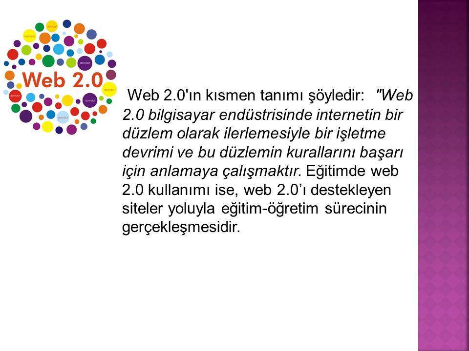 Web 2.0 ın kısmen tanımı şöyledir: Web 2.0 bilgisayar endüstrisinde internetin bir düzlem olarak ilerlemesiyle bir işletme devrimi ve bu düzlemin kurallarını başarı için anlamaya çalışmaktır.