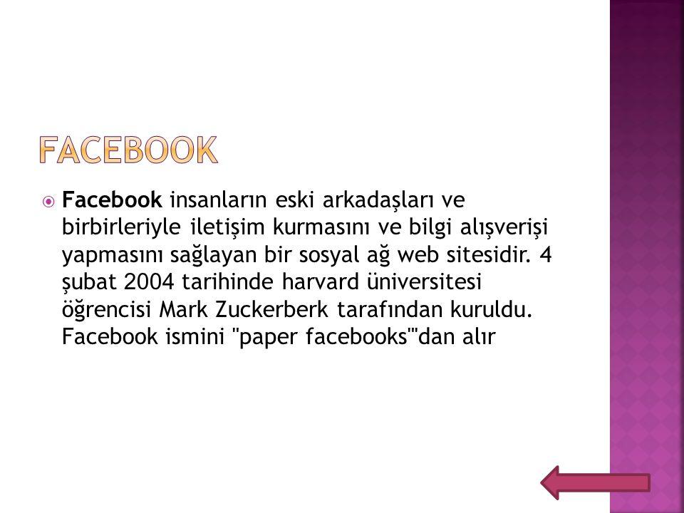  Facebook insanların eski arkadaşları ve birbirleriyle iletişim kurmasını ve bilgi alışverişi yapmasını sağlayan bir sosyal ağ web sitesidir.
