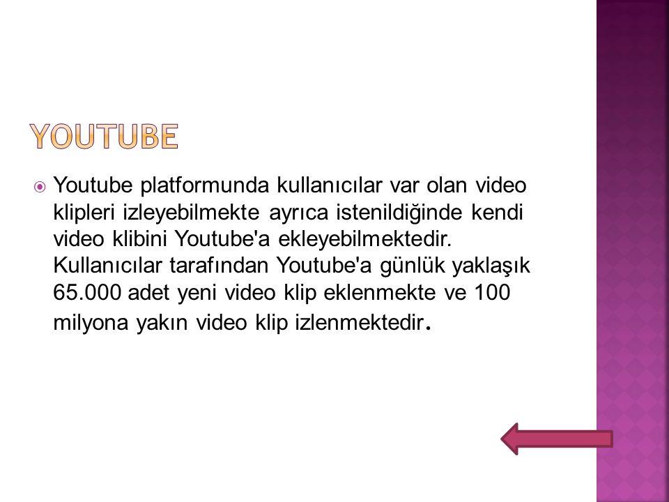  Youtube platformunda kullanıcılar var olan video klipleri izleyebilmekte ayrıca istenildiğinde kendi video klibini Youtube a ekleyebilmektedir.