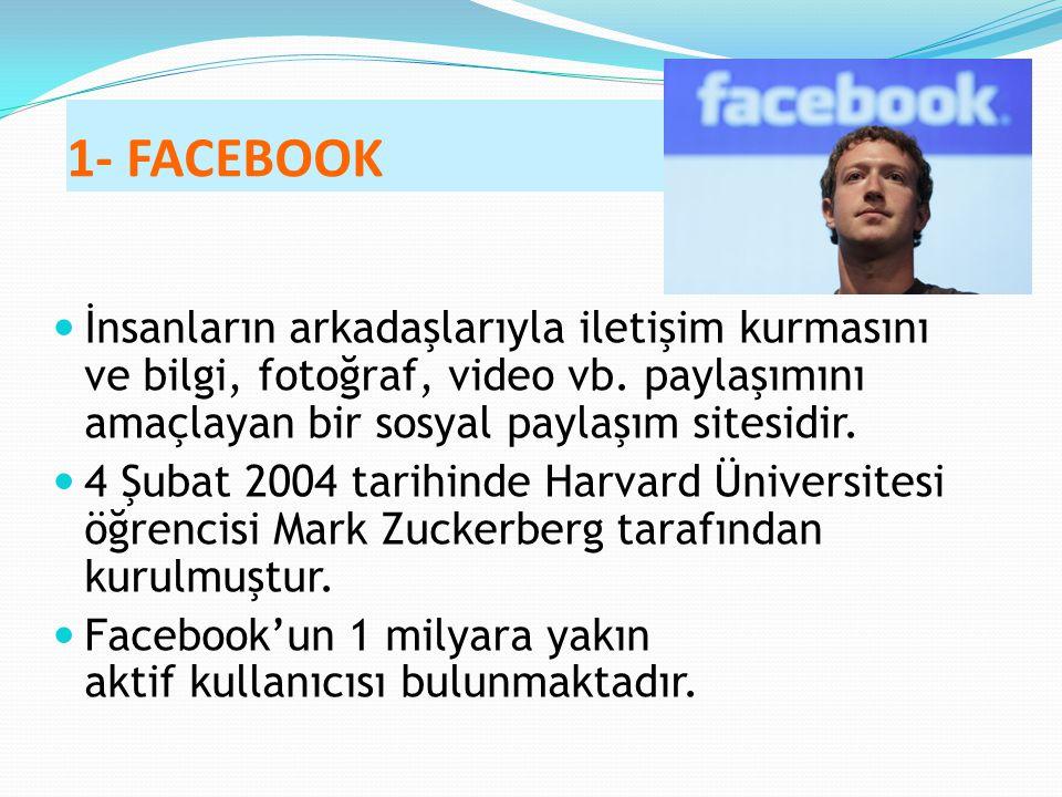 1- FACEBOOK İnsanların arkadaşlarıyla iletişim kurmasını ve bilgi, fotoğraf, video vb. paylaşımını amaçlayan bir sosyal paylaşım sitesidir. 4 Şubat 20