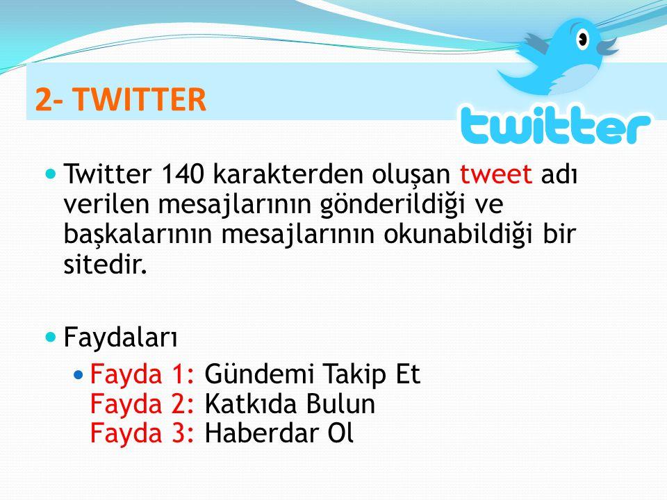 2- TWITTER Twitter 140 karakterden oluşan tweet adı verilen mesajlarının gönderildiği ve başkalarının mesajlarının okunabildiği bir sitedir. Faydaları