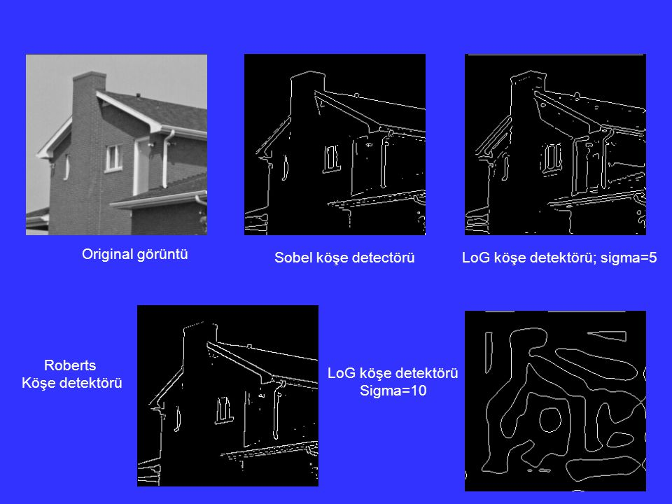 Edge detection by different operators – comparison: Original görüntü Sobel köşe detectörüLoG köşe detektörü; sigma=5 Roberts Köşe detektörü LoG köşe d
